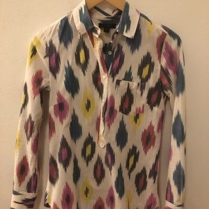 J. Crew Button Henley Ikat Shirt